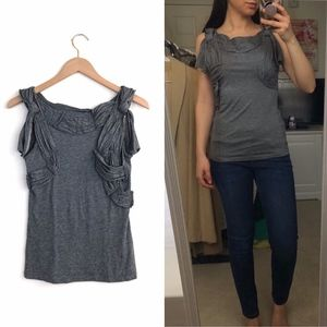 DELETTA Heather Grey Ruched and Knotted Tank Top